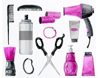 Hair Salon Clipart - Hair Tools - Hair Salon, Beauty Shop Clipart