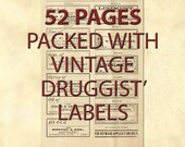 Many hundreds Vintage Product Apothecary Labels, Journaling Card Ephemera - Drugstore Pharmacy Druggist Labels - Digital Collage Sheets -
