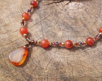 Carnelian and Swarovski Crystals