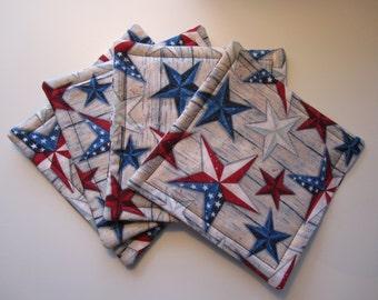Patriotic Star Fabric Coaster Set, 4th of July, Patriotic, Coasters, Fabric Coasters, Custom Fabric Coasters, Coaster Set, Hostess Gift