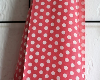 Red and White Polka dot scarf or headscarf