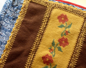Mustard and Brown Throw with Flowers and Greenery