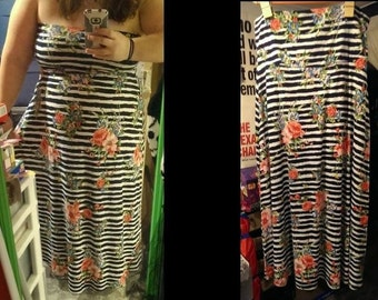 Modcloth Strapless Maxi Dress 18/20 tried on only Plus Size