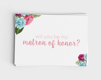 Printable Will You Be My Matron of Honor Card - Pink and Blue Floral Design - Instant Download