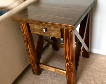X-Frame Rustic Side Table Night Stand