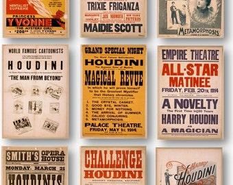 Vintage Magician Houdini Magic Show Poster Ads Set of 9 Prints