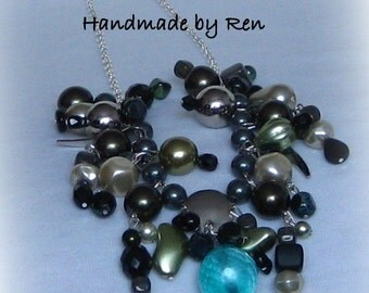 Handmade necklace made of various Czech beads and gemstones