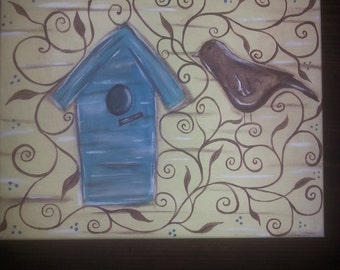Whimsical Birdhouse and Bird canvas painting