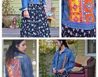 Reconstructed Boho Embellished denim jacket