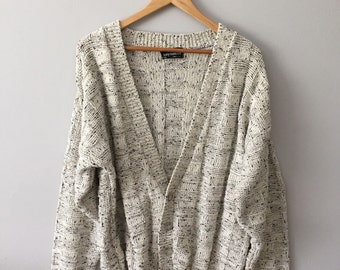 Cream Minimalistic Oversized Cardigan