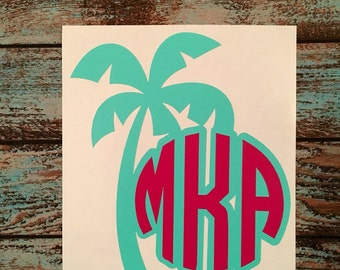 PALM Tree Decal with Double Layer Monogram | Beach |  | Yeti Corkcicle Rtic  | 30 Colors | 3.5""