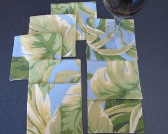 Handmade Coasters - set of 8 - blue, green, cream palm leaf linen