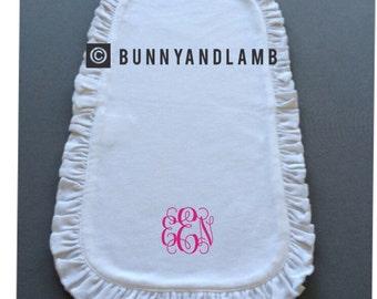 Monogrammed Ruffle Burp Cloth