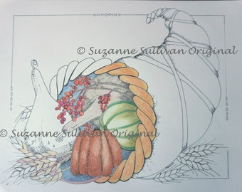 Horn of Plenty Coloring Page, Adult Coloring Page, Thanksgiving Coloring page, Printable Download, Cornucopia Coloring Page, Coloring Page