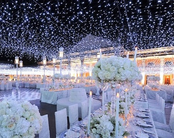 164 feet 400 LED String Fairy Lights Wedding Garden Party Xmas Light, WHITE/Cool White Linkable