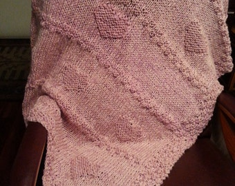 Baby Blanket / knit /rose pink / *hearts*