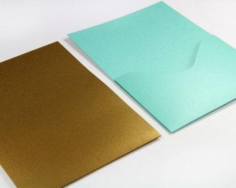 25 - A7  Pocket Card Invitation  - Metallic Finish - 5 x 7