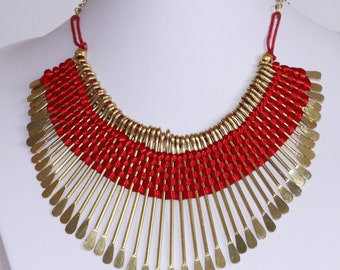 Red/Black/Cream Threaded Spike Bib Collar Tribal Necklace with Golden Spikes