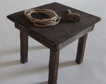 Dollhouse miniature wooden torture table, 1:12 scale castle dungeon