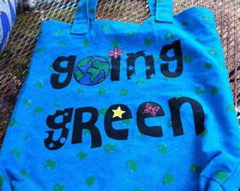 Vintage 1990s little girl GOING GREEN save the earth movement tote bag