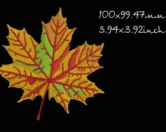 Autumn maple leaf design embroidery machine, instant download