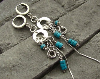 Sterling silver and turquoise - long earrings