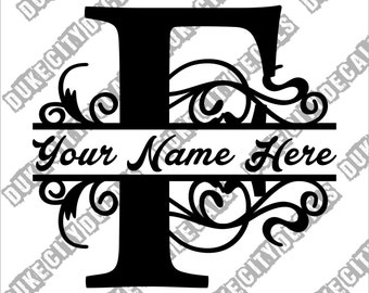 Letter F Floral Initial Monogram Family Name Vinyl Decal Sticker - Personalized Floral Name Decal