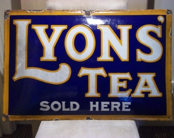1930s Original Lyons Tea, Enamelled, Steel Advertising Sign