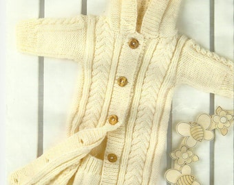Childs Cardigan Coat Knitting Pattern 0 - 12 months.