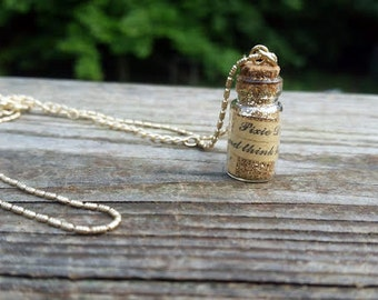 Peter Pan Inspired Gold Pixie Dust Mini Jar Charm Necklace