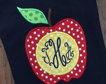 Apple monogram shirt for teacher, personalized teacher shirt, teacher gift, teacher appreciation, end of school teacher gift