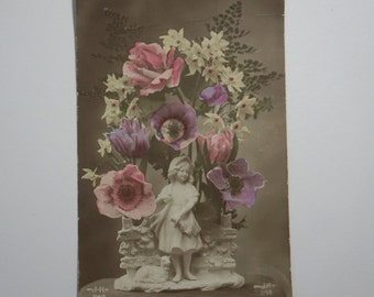 Vintage WWI Hand Coloured Photographic Postcard