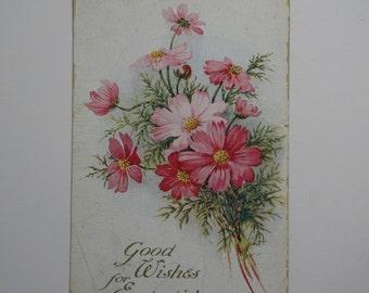 Vintage Flowers Easter Postcard
