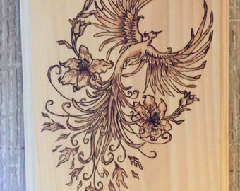 "Wood Burning Art - Pyrography plaque - Flower Phoenix Bird - 9"" x 7"" or custom"