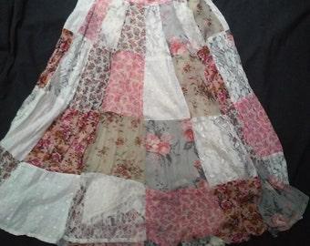 vintage lace patchwork boho skirt 12P