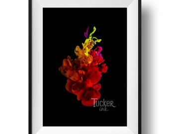 Underwater Ink Photography {heart abstract conceptual modern home decor colorful mixed media photo print wall art}