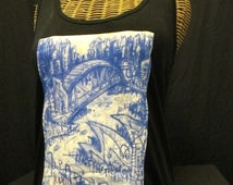 Women's Singlet/Tank-Top - 'Sydney Harbour JazzBeats' - THANKS ART APPAREL.