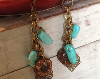 Earrings, Boho turquoise earrings,boho earrings,boho jewelry,hippie earrings,hippie jewelry,turquoise earrings,turquoise jewelry,antique gol