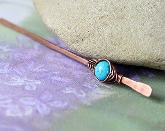 Gemstone pin Turquoise Shawl pin or hair pin stick in copper