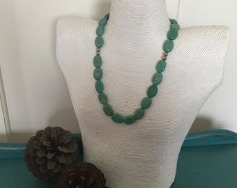 Green Howlite and Silver Necklace