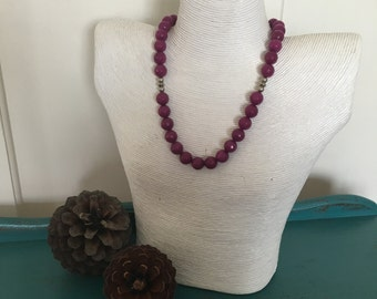 Faceted Jade Necklace - Purple