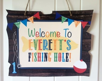 Gone Fishing Birthday Sign // Fishing Hole Sign - Printed