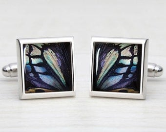 Shades of Blue & Green Butterfly Wing Print - Square Cufflinks