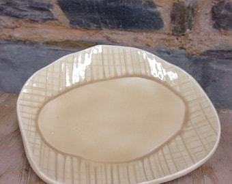 Handmade Tan Textured Ceramic Dessert  Plate