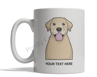 Labrador Retriever (Yellow Lab) Dog Cartoon Mug - Personalized Custom Text Ceramic Coffee Tea Cup 11 oz