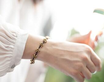 Beaded bracelet- Brown Bracelet-  Gold flowers Bracelet - B90