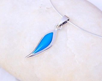 Silver and turquoise pendant, Sterling Silver chain, Silver leaf pendant,  silver necklace, 925 silver, Boho jewelry (P 3)