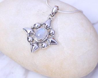 Silver And Moonstone Pendant, Sterling Silver Chain, Gemini Zodiac Stone,925 Silver, Boho jewelry, Victorian Design Charm, Neck Charm,(P99)