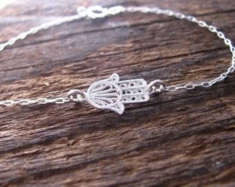 Hamsa bracelet, silver bracelet, silver hamsa bracelet, evil eye bracelet, silver hand bracelet, jewelry gift, charm bracelet, gift for her