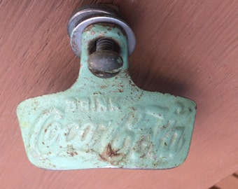 Coca Cola Bottle Cap Opener Original Vintage Cast Metal - Green Paint